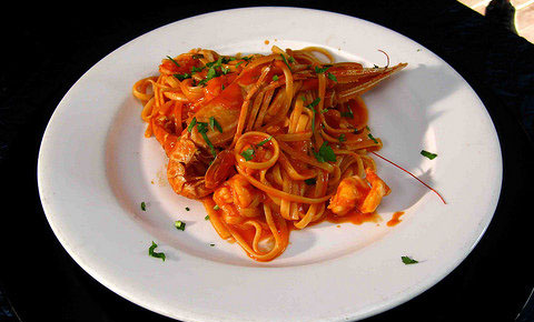 Homemade Pasta With Fresh Seafood In A Delicate Tomato Sauce