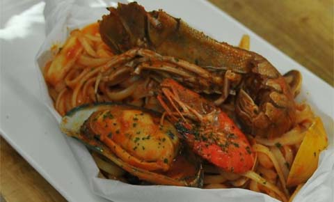 Seafood Linguine Baked In Parchment Paper